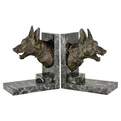 Art Deco Bronze Bookends with Shepherd Dogs by Varnier, France, 1925