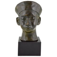 Art Deco Bronze Bust Chinese Boy with Hat and Braid. C. Le Van, 1930