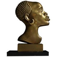 Art Deco Bronze Bust Manner Franz Hagenauer of Vienna Werkstatte