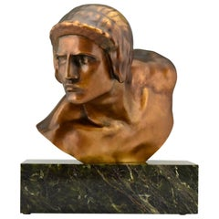 Art Deco Bronze Bust of Achilles Constant Roux Susse Freres Foundry France, 1920