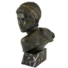 Art Deco Bronze Bust Young Boy Achilles Constant Roux, 1920