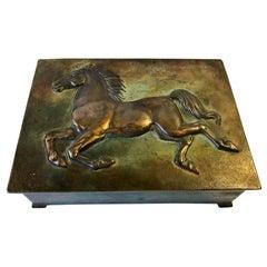 Art Deco Bronze Cigar Box with Stallion, Denmark, 1930s