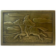 Art Deco Bronze Cigarette Box with Soldier by N. Dam Ravn, Denmark, 1930s
