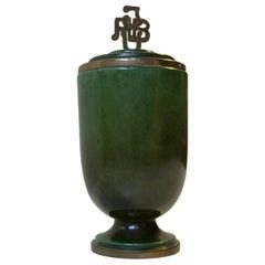 Art Deco Bronze Cigarette Jar by Ildfast, Denmark, 1940s