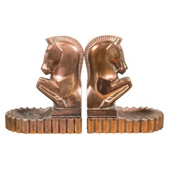 Art Deco Bronze/Copper-Plated Trojan Horse Bookends by Champion Products c.1930