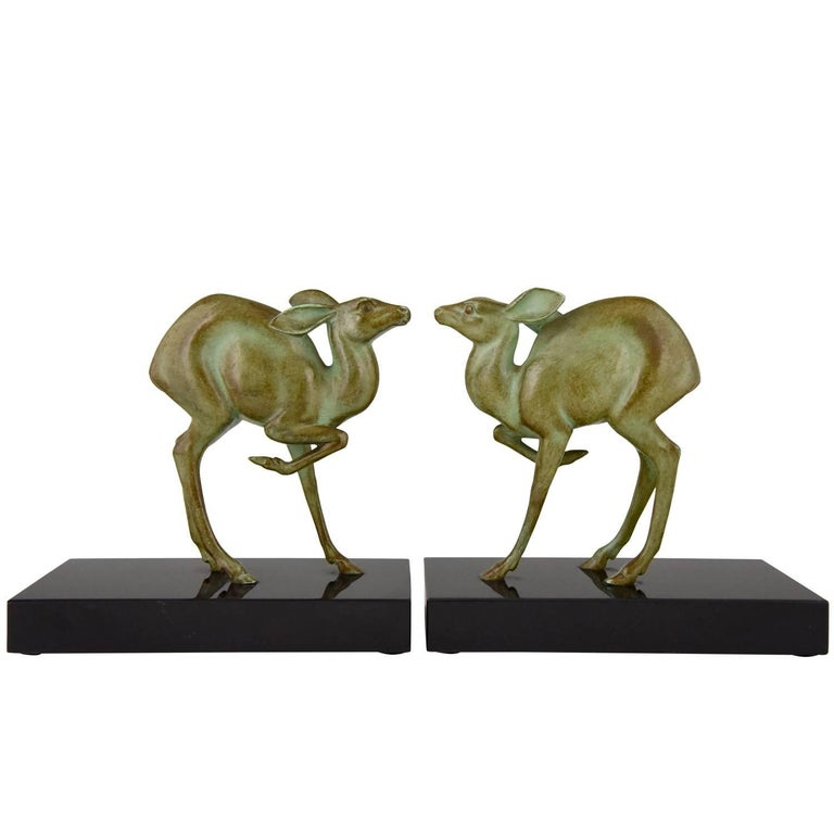 Art Deco Bronze Deer Bookends by Rischmann, France, 1925