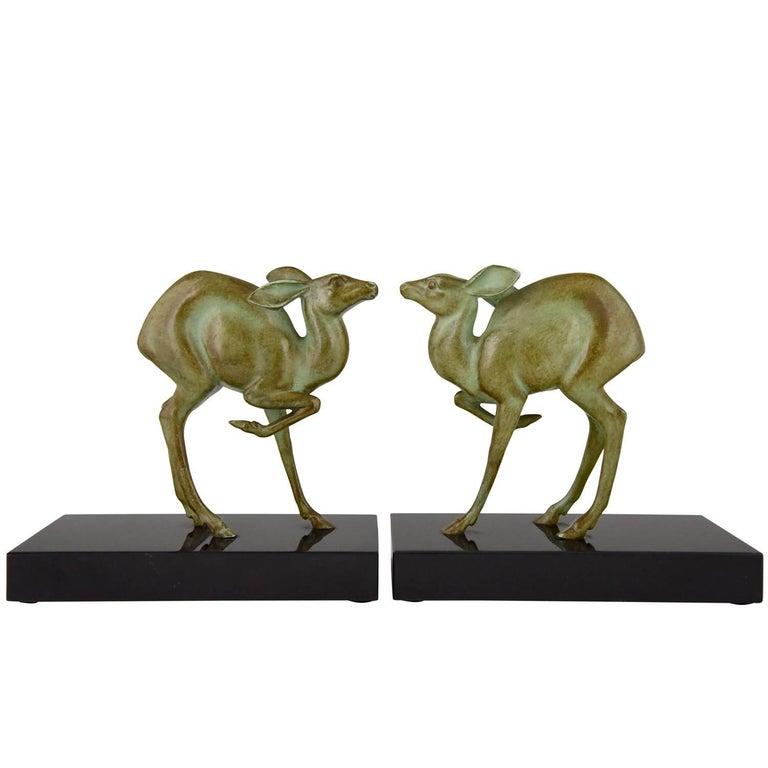 Art Deco Bronze Deer Bookends by Rischmann, France, 1925