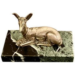 Art Deco Bronze Deer Sculpture by Georges Lavroff, 1930