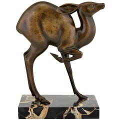 Art Deco Bronze Deer Sculpture Rischmann, France, 1925