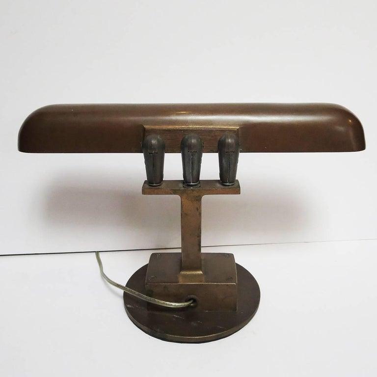 Art Deco Bronze Desk Lamp Machine Age For Sale 1