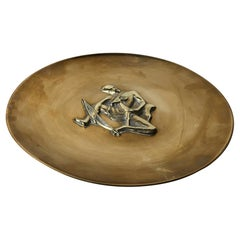 Art Deco Bronze Dish with Bow Hunter by N. Dam Ravn, Denmark, 1930s
