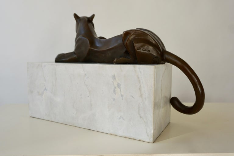 Art Deco Bronze Dog Sculpture by Decoux, 1930, France For Sale 7