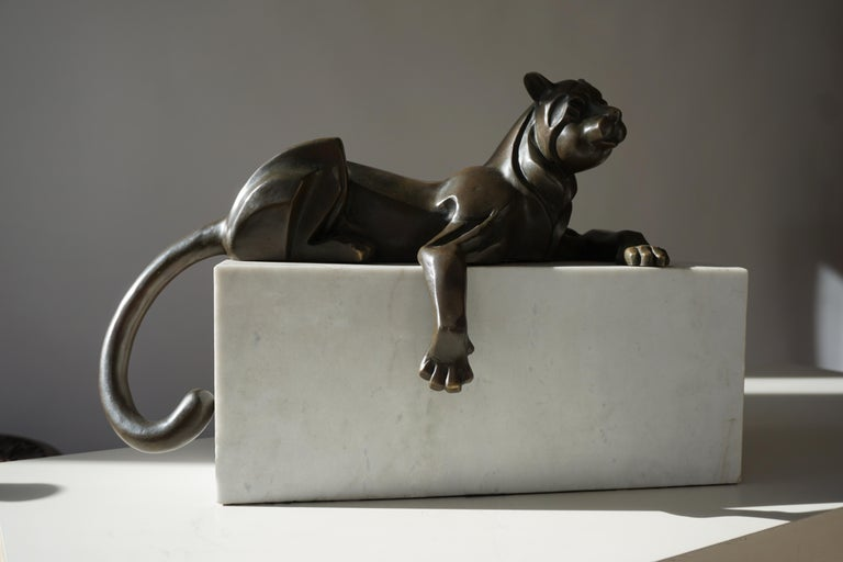 French Art Deco Bronze Dog Sculpture by Decoux, 1930, France For Sale