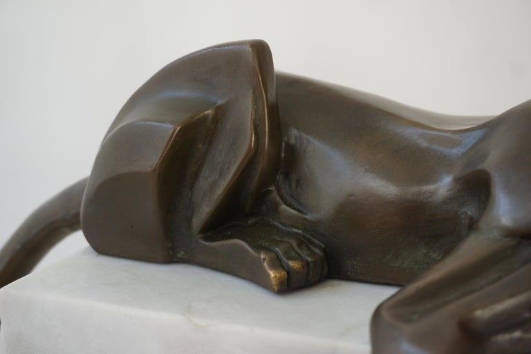 Art Deco Bronze Dog Sculpture by Decoux, 1930, France For Sale 3