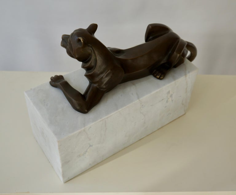 Art Deco Bronze Dog Sculpture by Decoux, 1930, France For Sale 4