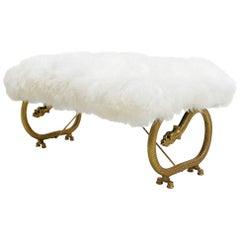 Art Deco Bronze Dragon Legs French Bench