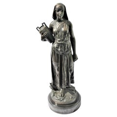 Art Deco Bronze, Egyptian Girl with Water Jug, Large in the Style of F.Ghilmany