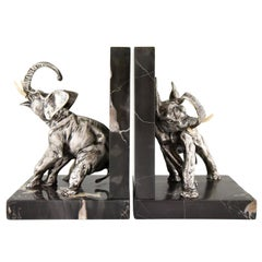 Art Deco Bronze Elephant Bookends Charles Paillet France 1920