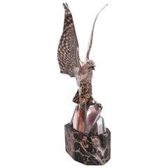 Art Deco Bronze Falcon Sculpture By Henri Rischmann Signed to Leg French 1920's