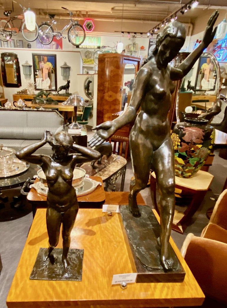Art Deco Bronze Female Statue by Belgian Artist M. D'Haveloose For Sale 6