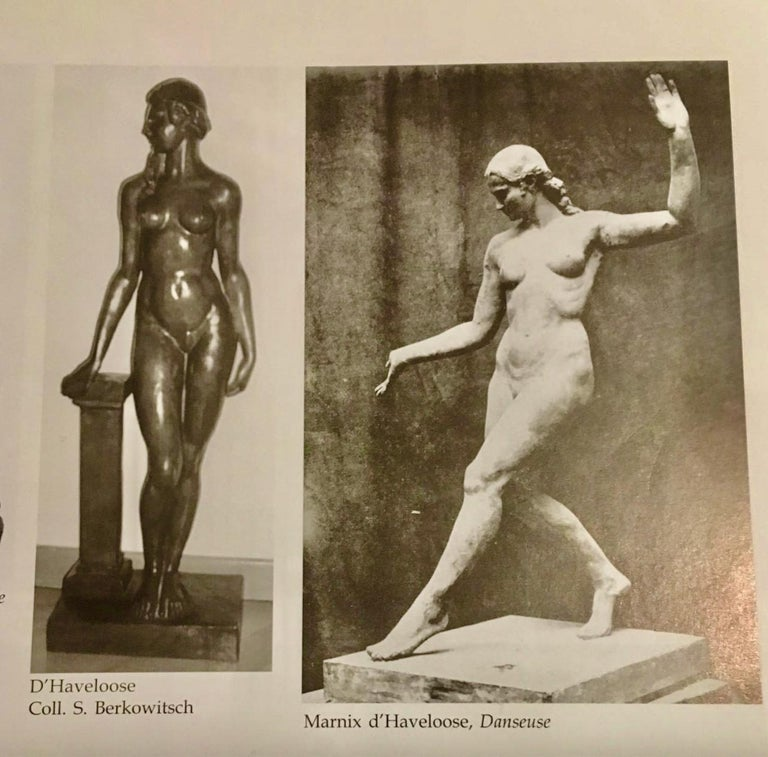 Art Deco Bronze Female Statue by Belgian Artist M. D'Haveloose For Sale 7