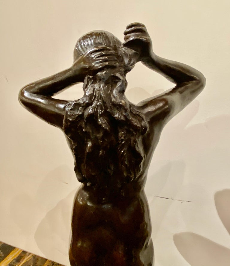 Art Deco Bronze Female Statue by Belgian Artist M. D'Haveloose In Good Condition For Sale In Oakland, CA