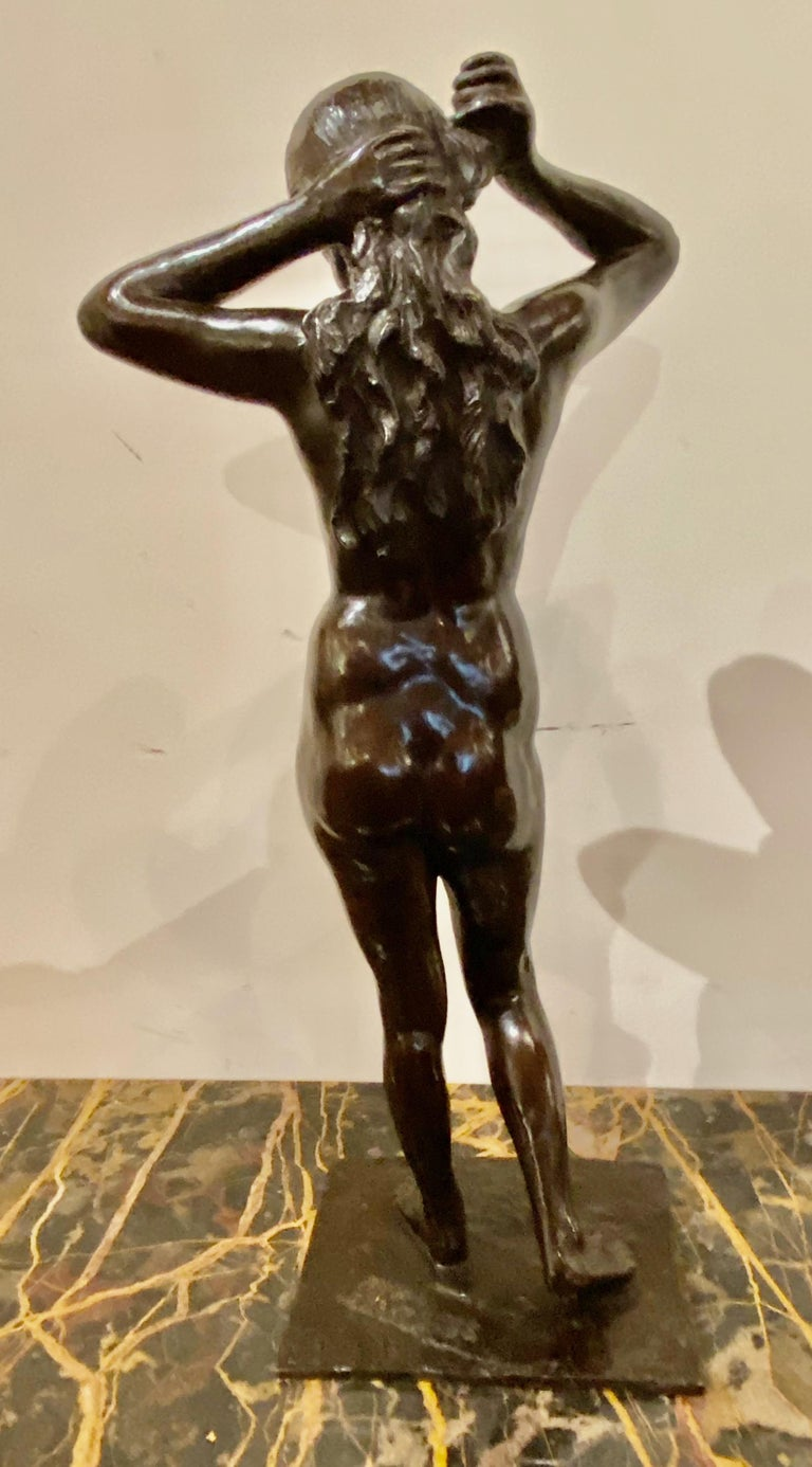 Mid-20th Century Art Deco Bronze Female Statue by Belgian Artist M. D'Haveloose For Sale