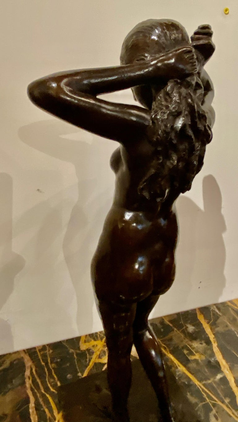 Art Deco Bronze Female Statue by Belgian Artist M. D'Haveloose For Sale 1
