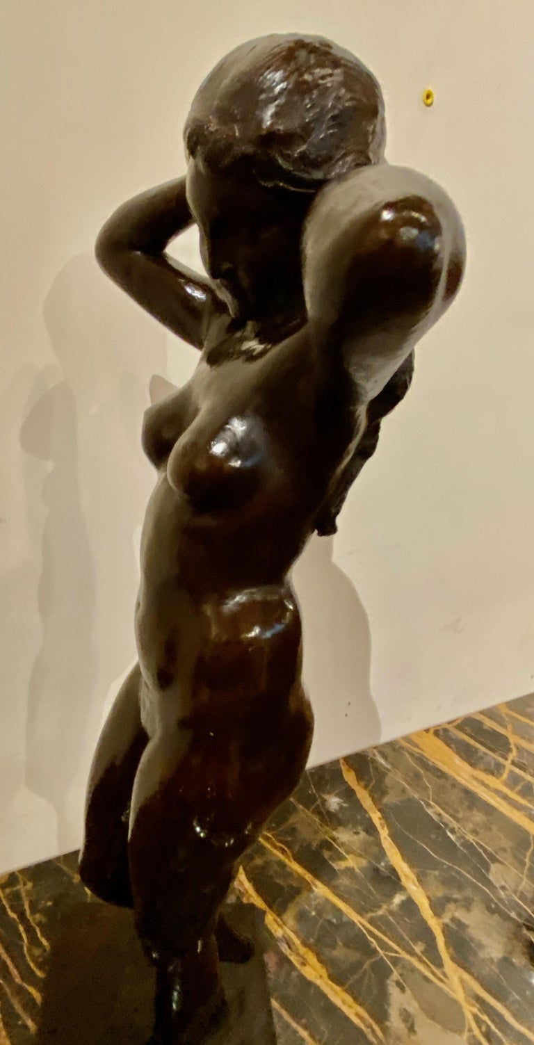 Art Deco Bronze Female Statue by Belgian Artist M. D'Haveloose For Sale 2
