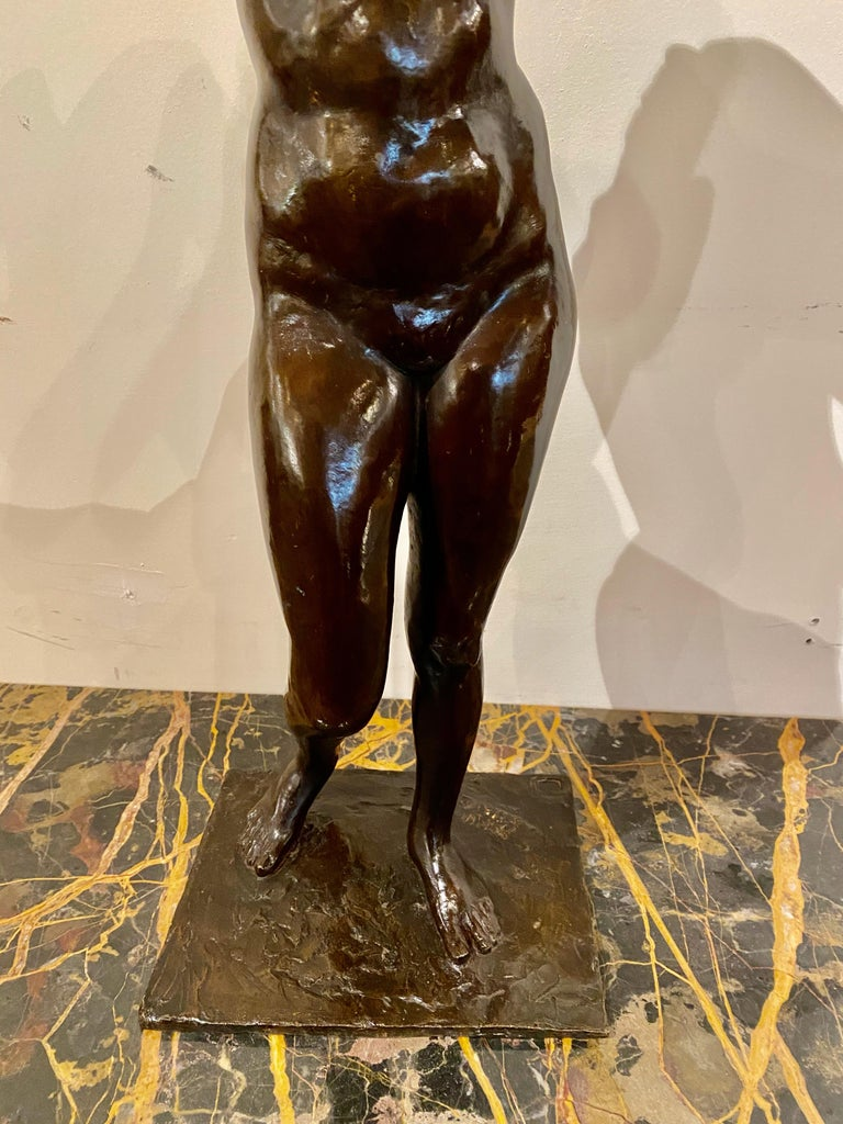 Art Deco Bronze Female Statue by Belgian Artist M. D'Haveloose For Sale 3