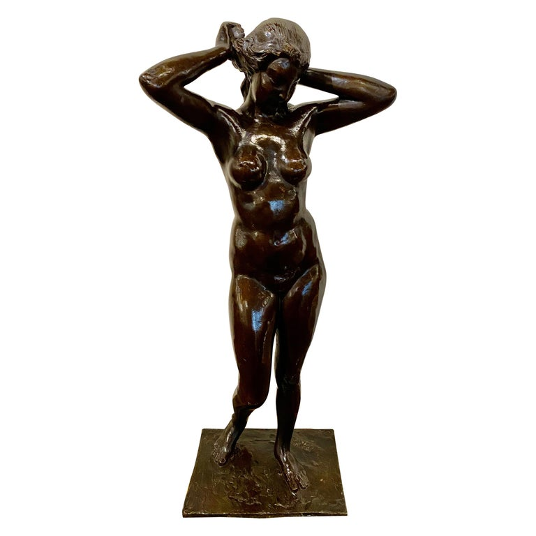 Art Deco Bronze Female Statue by Belgian Artist M. D'Haveloose For Sale