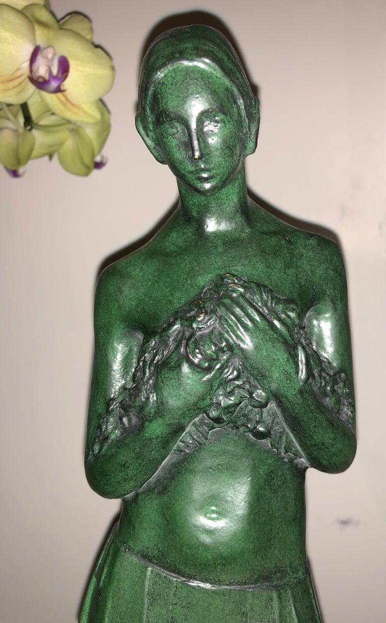 Belgian Art Deco Bronze Figure Antoine Vriens Classic 1928 1 of 6 Total Art Deco For Sale