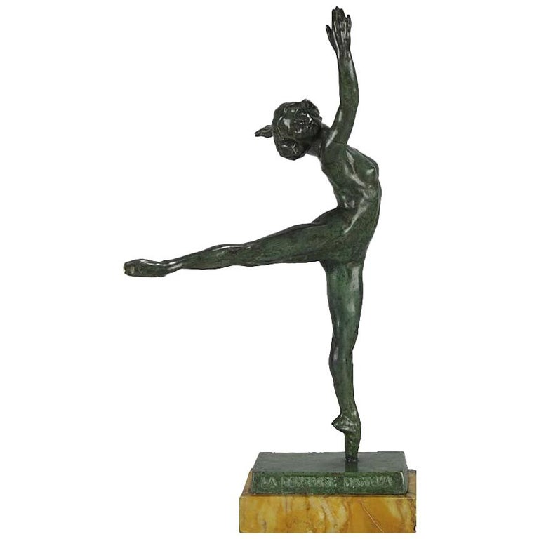 "Art Deco Bronze Figure ""La Danseuse Nattova"" by Serge Yourévitch For Sale"