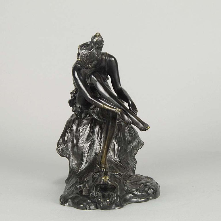 "German Art Deco Bronze Figurine Entitled ""Stockings"" by Bruno Zach For Sale"
