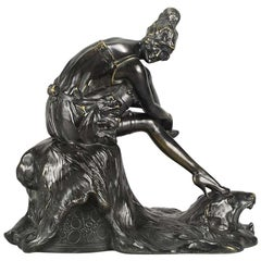 "Art Deco Bronze Figurine Entitled ""Stockings"" by Bruno Zach"