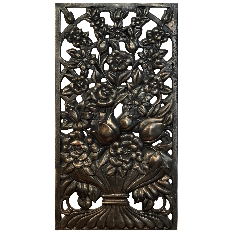 Art Deco Bronze Floral Motif Architectural Panel, Four Available