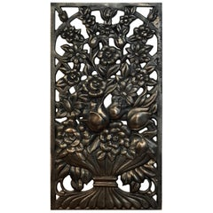 Art Deco Bronze Floral Motif Architectural Panel, Four Available