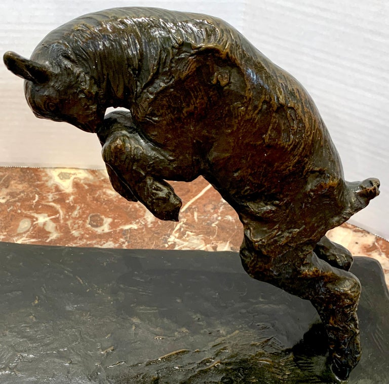 Art Deco Bronze 'Girl with Jumping Goat' by Paul Silvestre, Susse Freres Foundry For Sale 4