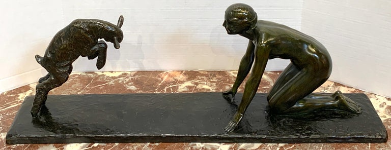Art Deco Bronze 'Girl with Jumping Goat' by Paul Silvestre, Susse Freres Foundry For Sale 6