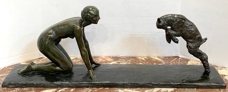Art Deco Bronze 'Girl with Jumping Goat' by Paul Silvestre, Susse Freres Foundry Paul Silvestre (1884-1976), French, Won numerous medals including the Grand Prix de Rome 1912. His credits include Atelier gallery sculptures and public monuments.