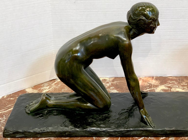 French Art Deco Bronze 'Girl with Jumping Goat' by Paul Silvestre, Susse Freres Foundry For Sale