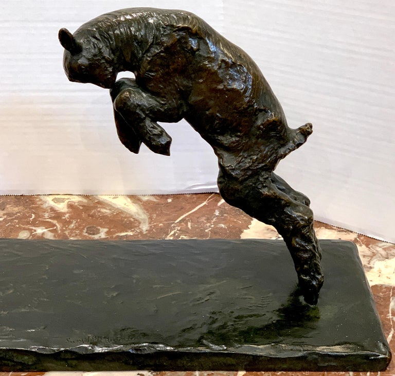 Art Deco Bronze 'Girl with Jumping Goat' by Paul Silvestre, Susse Freres Foundry For Sale 2