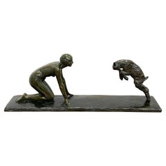 Art Deco Bronze 'Girl with Jumping Goat' by Paul Silvestre, Susse Freres Foundry
