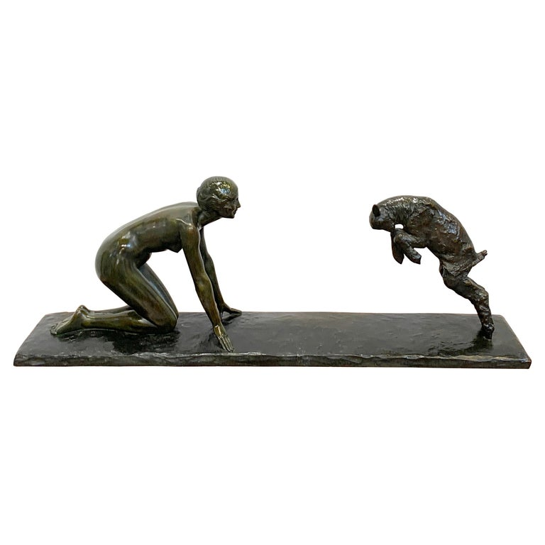 Art Deco Bronze 'Girl with Jumping Goat' by Paul Silvestre, Susse Freres Foundry For Sale