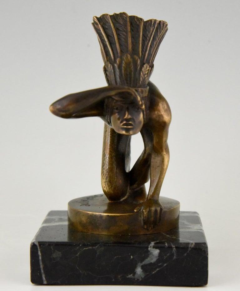 Patinated Art Deco Bronze Indian Lookout Car Mascot Guillaume Laplagne, 1930 For Sale
