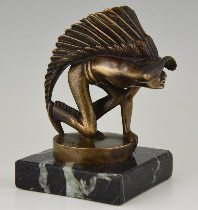 Art Deco Bronze Indian Lookout Car Mascot Guillaume Laplagne, 1930 In Good Condition For Sale In Antwerp, BE