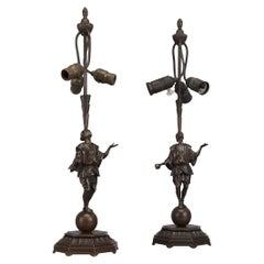 Art Deco Bronze 'Juggler' Figural Table Lamps by Roland Paris, German circa 1920