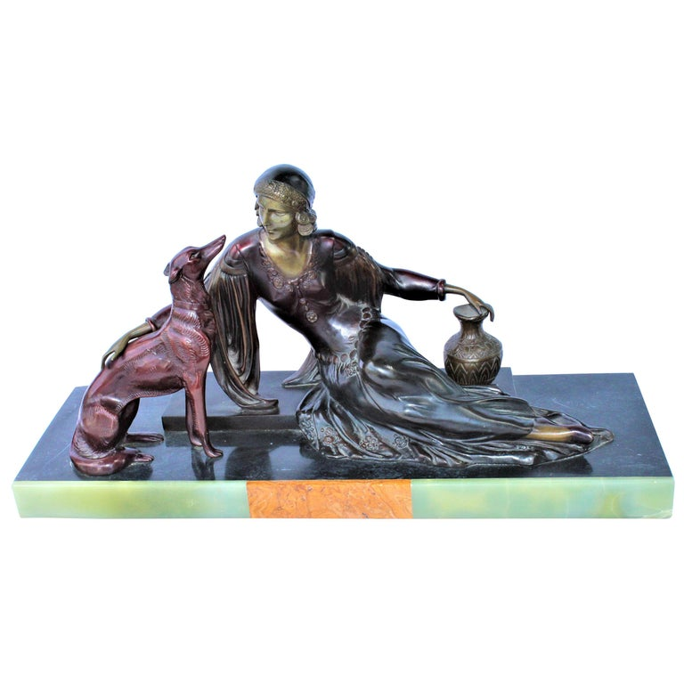 Art Deco Bronze Lady with Dog, Marble Base after Menneville For Sale