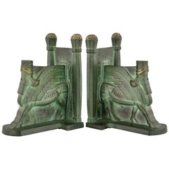 Art Deco Bronze Lamassu Winged Man Bull Bookends C. Charles, 1930
