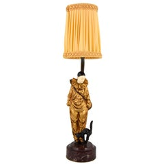 Art Deco Bronze Lamp with Pierrot Clown and Cat Georges Omerth, France, 1920